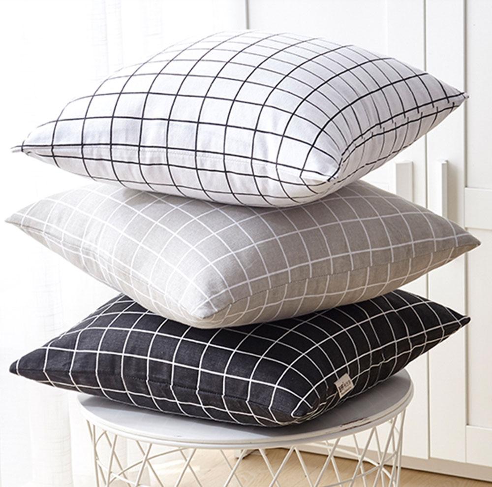 Colorful Plaids Pillow Case Core, Floral Linen Cushion Home Decoration 12