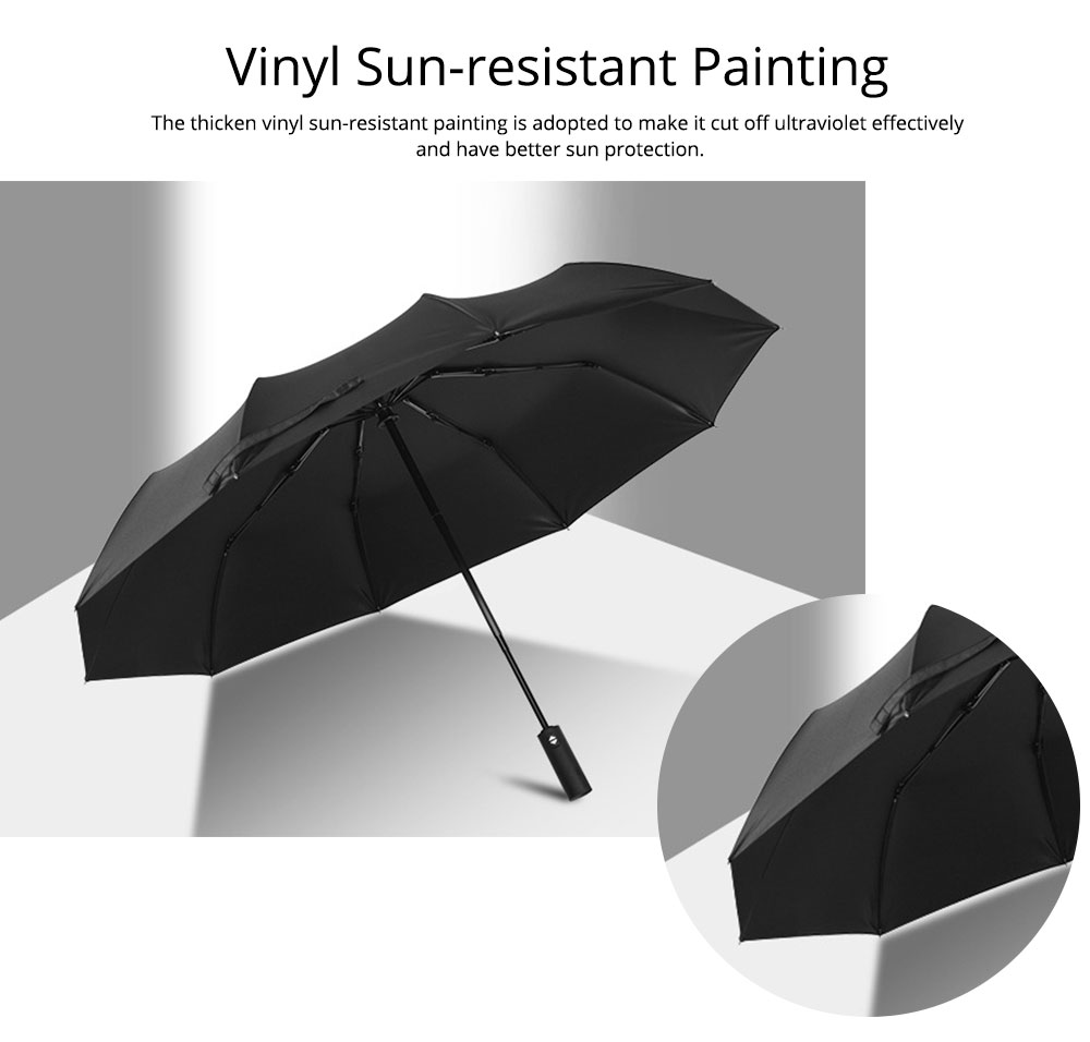 Automatic Umbrella 10 Ribs for Rain and Sunny Day, Super Waterproof Windproof Sun-resistant Folding Umbrella for Two Person 3