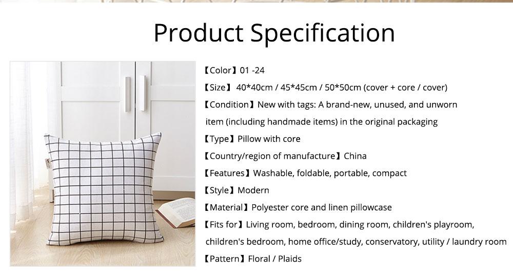 Colorful Plaids Pillow Case Core, Floral Linen Cushion Home Decoration 7