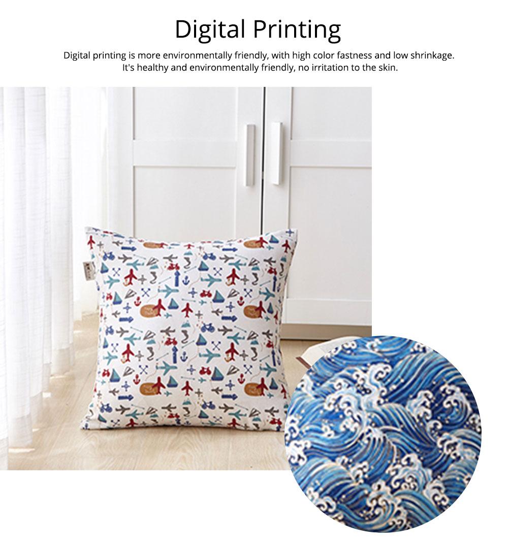 Colorful Plaids Pillow Case Core, Floral Linen Cushion Home Decoration 3