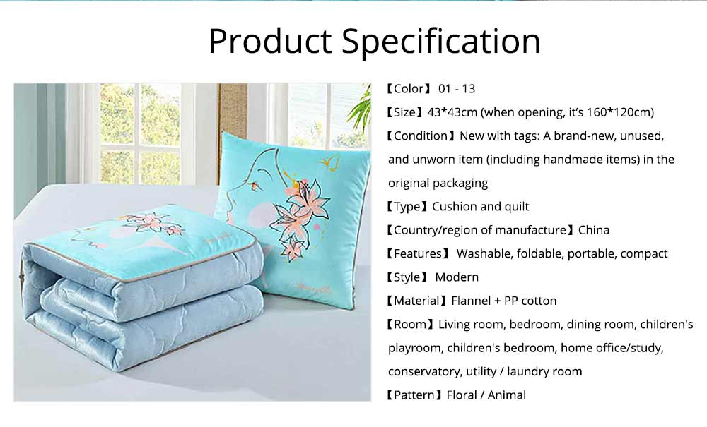 2 In 1 Pillow Detachable Quilt, Blue Flannelette PP Cotton Cushion Home Decor 12