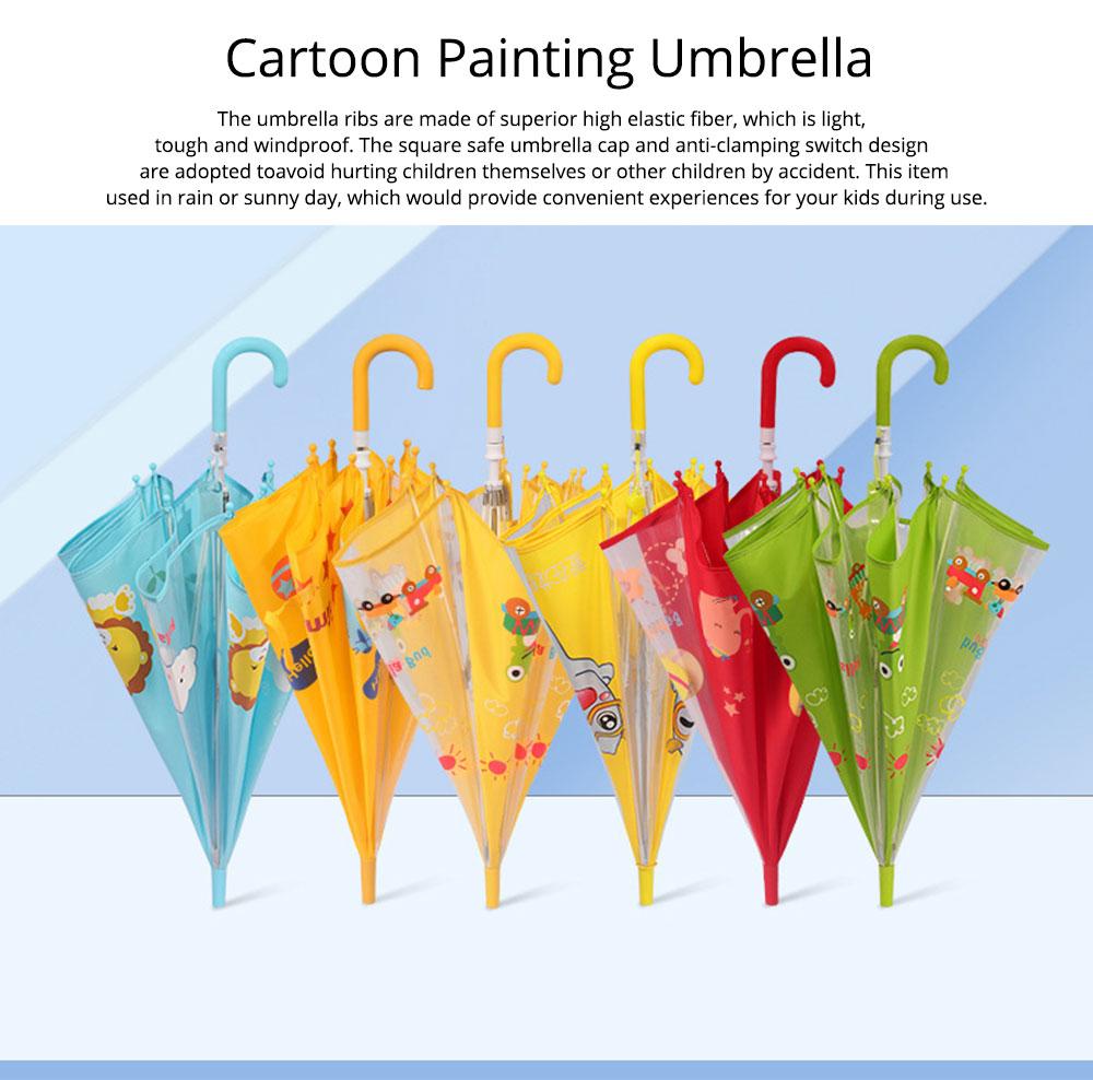 Cute Cartoon Painting Umbrella for Children, Long-handle Non-automatic Sun Rain waterproof Umbrella 0