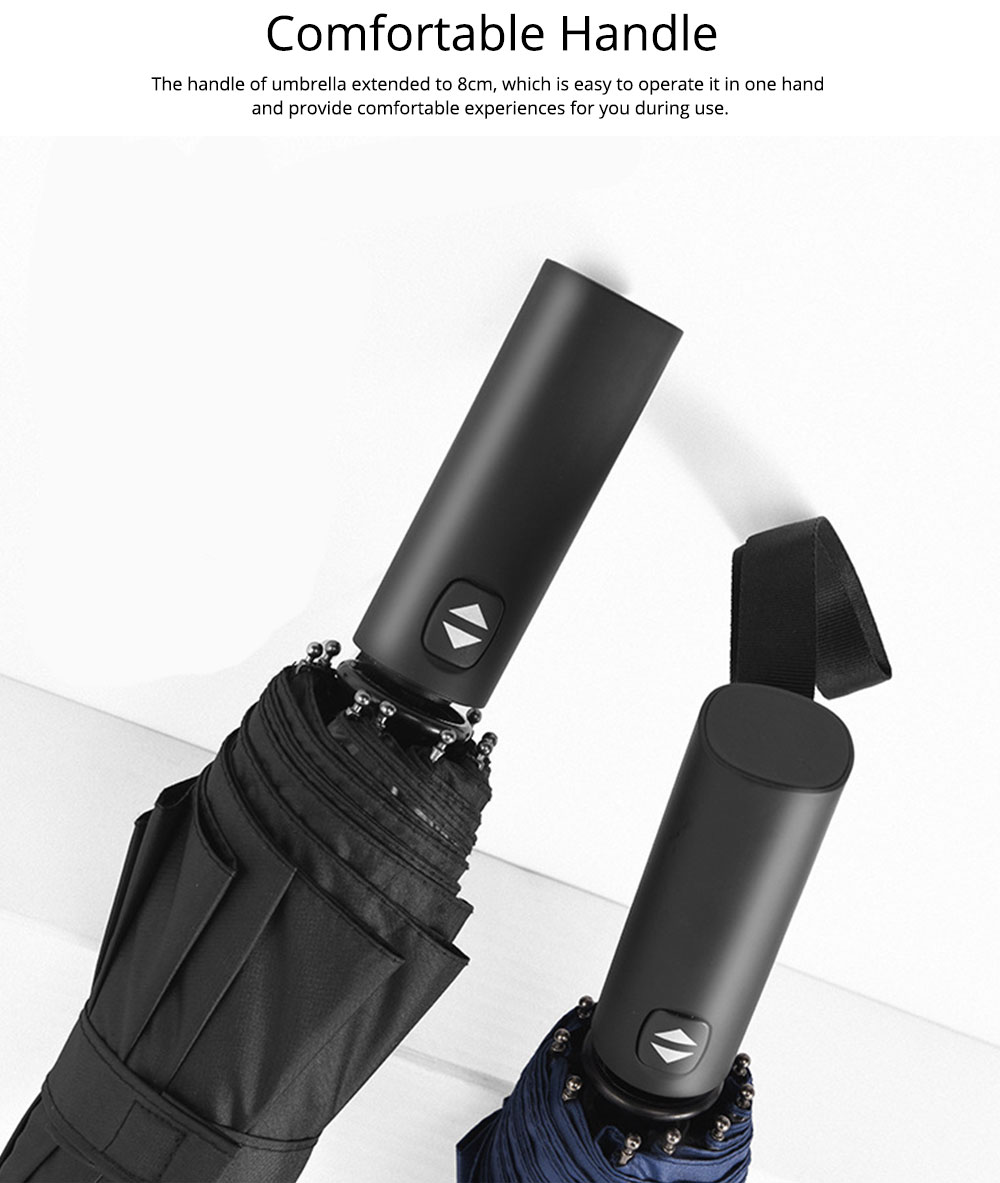 Automatic Umbrella 10 Ribs for Rain and Sunny Day, Super Waterproof Windproof Sun-resistant Folding Umbrella for Two Person 4