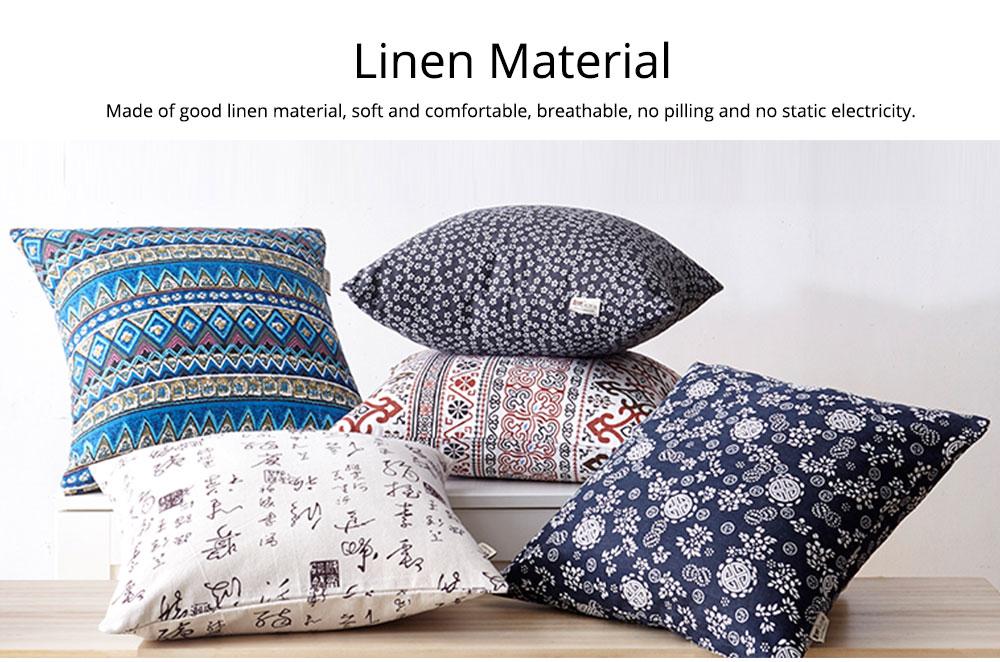 Colorful Plaids Pillow Case Core, Floral Linen Cushion Home Decoration 2