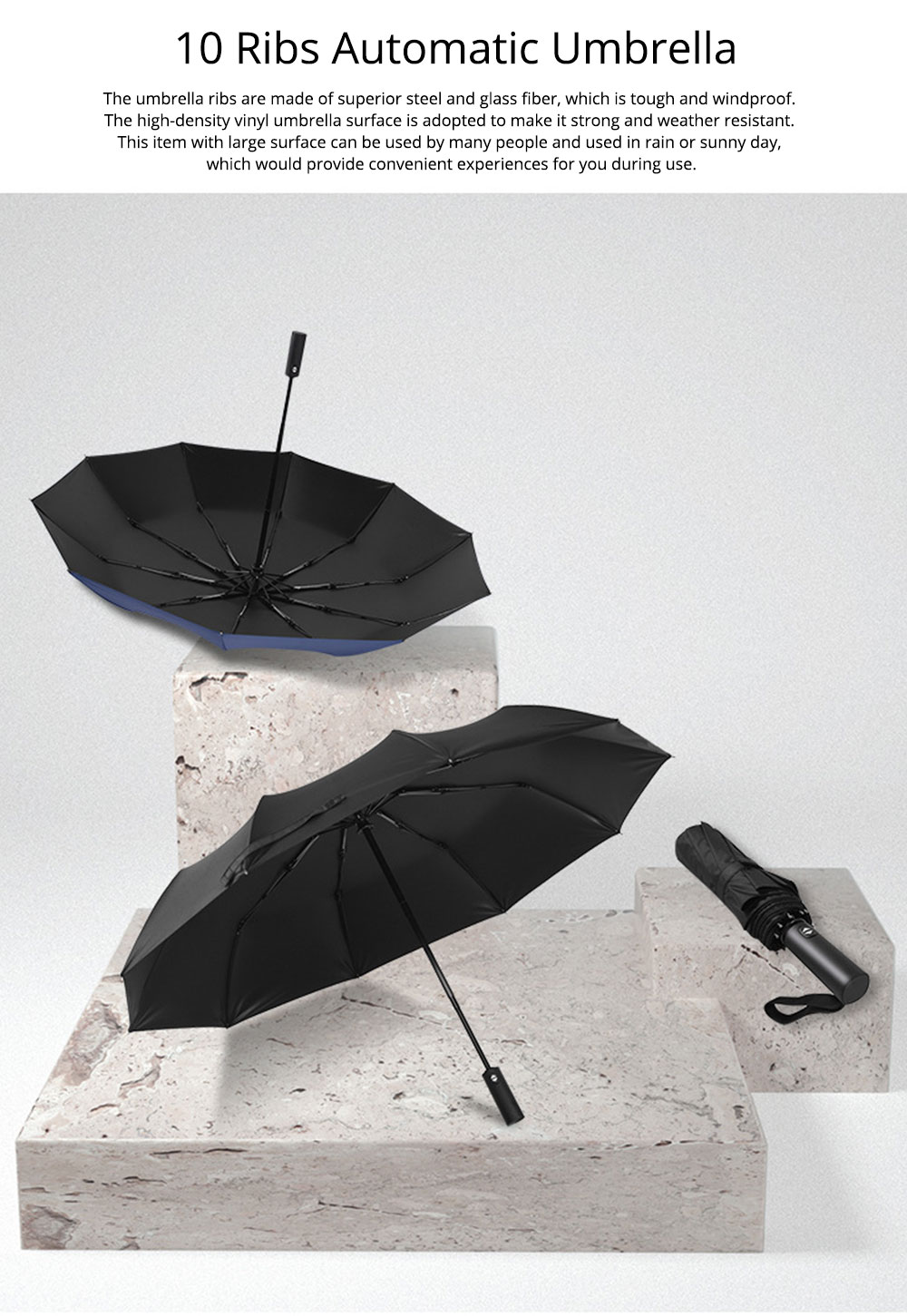 Automatic Umbrella 10 Ribs for Rain and Sunny Day, Super Waterproof Windproof Sun-resistant Folding Umbrella for Two Person 0