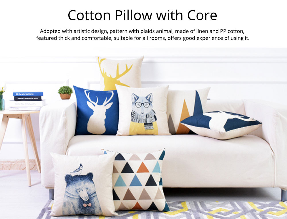 Linen Pillowcase Plaids Animal Pattern, Pillow Core Artistic Cushion Home Decor 0