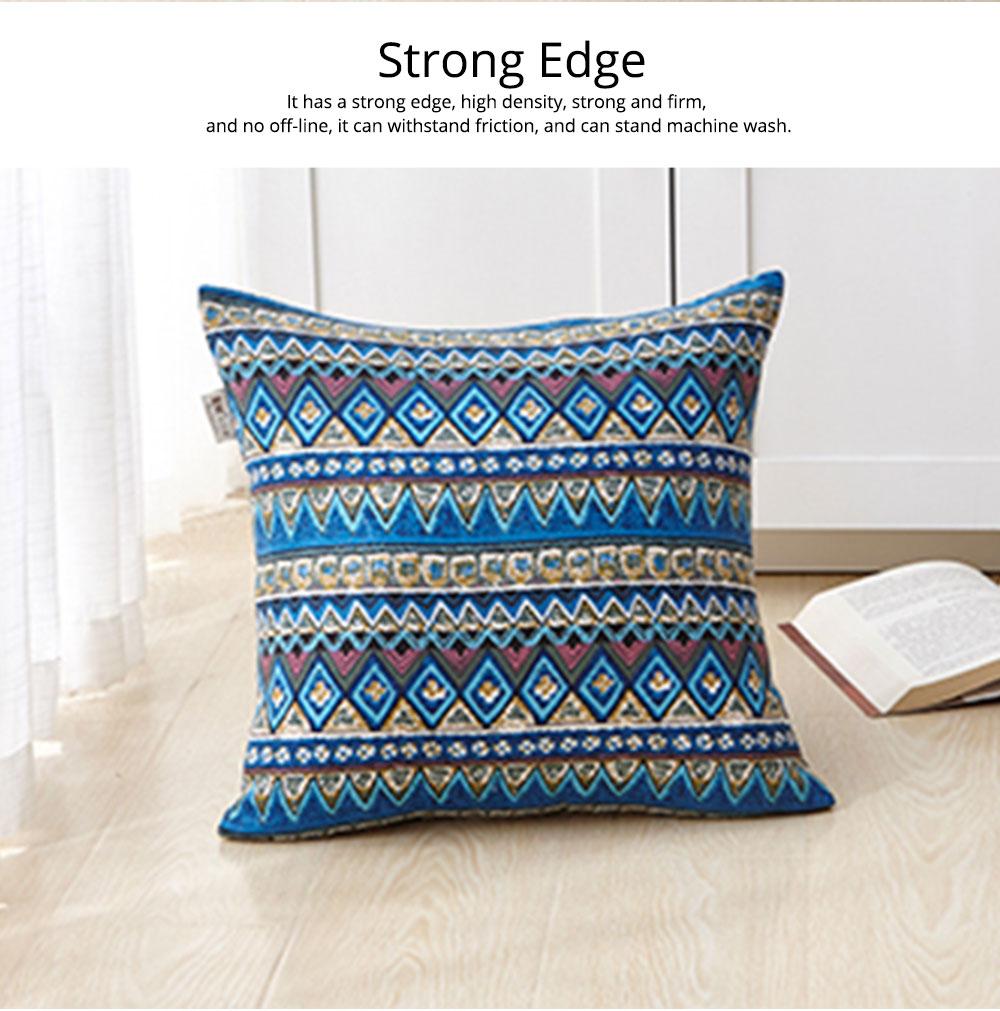 Colorful Plaids Pillow Case Core, Floral Linen Cushion Home Decoration 1