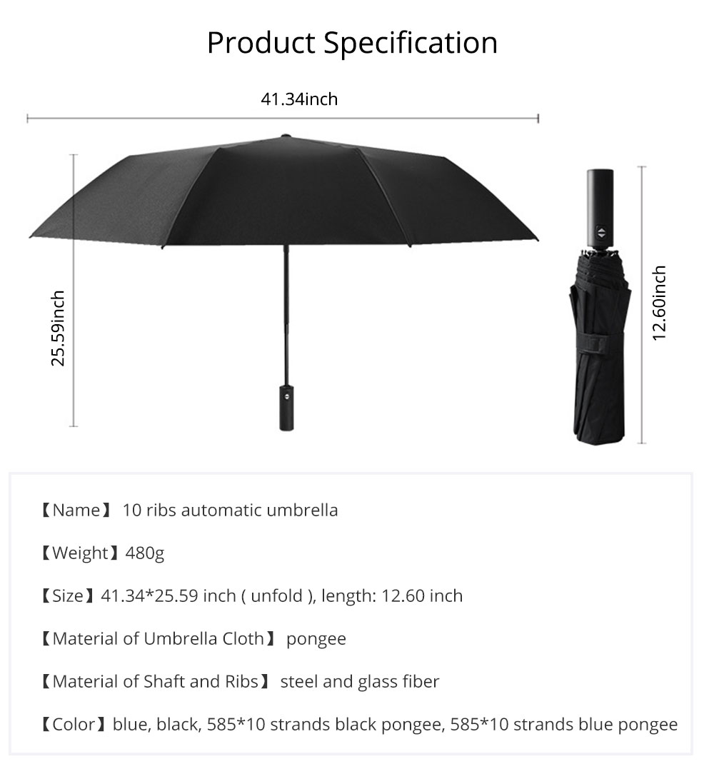 Automatic Umbrella 10 Ribs for Rain and Sunny Day, Super Waterproof Windproof Sun-resistant Folding Umbrella for Two Person 7