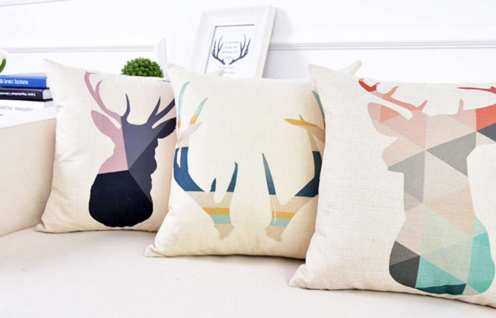 Linen Pillowcase Plaids Animal Pattern, Pillow Core Artistic Cushion Home Decor 6