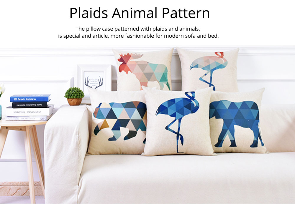 Linen Pillowcase Plaids Animal Pattern, Pillow Core Artistic Cushion Home Decor 5