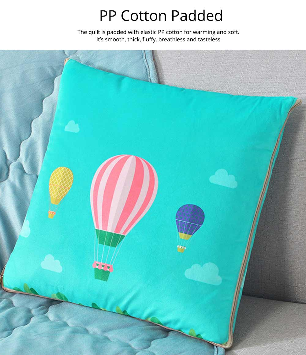 2 In 1 Pillow Detachable Quilt, Blue Flannelette PP Cotton Cushion Home Decor 11
