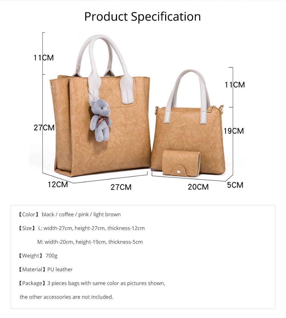 3pcs Creases PU Leather Tote Bag & Cross Body Pouch & Card Bag, Lady Accessories Solid Shoulder Pack Sets 8