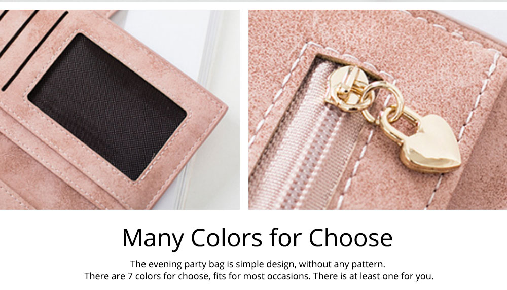Vintage Lady Handbag Frosted PU Leather Wallet Card Holder Mini Purse, Metal Magnetic Buckle Belt Long Clutch Evening Party Dinner Bag 13