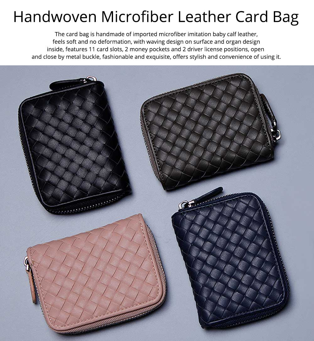 Casual Leather Coin Purse, Microfiber Handwoven Multifunctional Change Case Wallet Card Holder With Metal Zipper and Hanging Belt 7