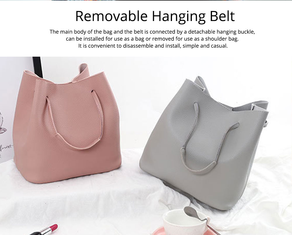 Solid PU Leather Bucket Bag, Cross Body Pouch, Strapped Clutch, Card Bag, Elegant Lady Accessories Bag Sets 4PCS 5