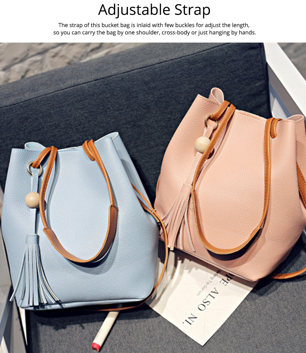 Women Bucket Bag Soft PU Leather, Large Capacity Tassels Ornaments Shoulder Bag, Solid Cross-body Bag Lady Simple Accessories 2PCS 4