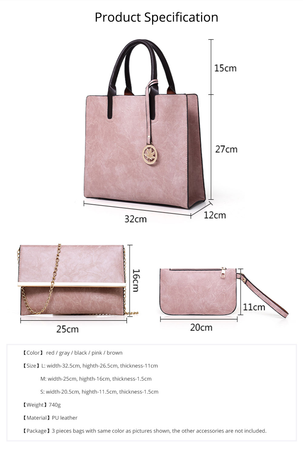 Ladies Handbag Set - Frosted PU Leather Lady Handbag & Shoulder Bag & Tote, Fashion Satchel Slim Purse 3PCS 9