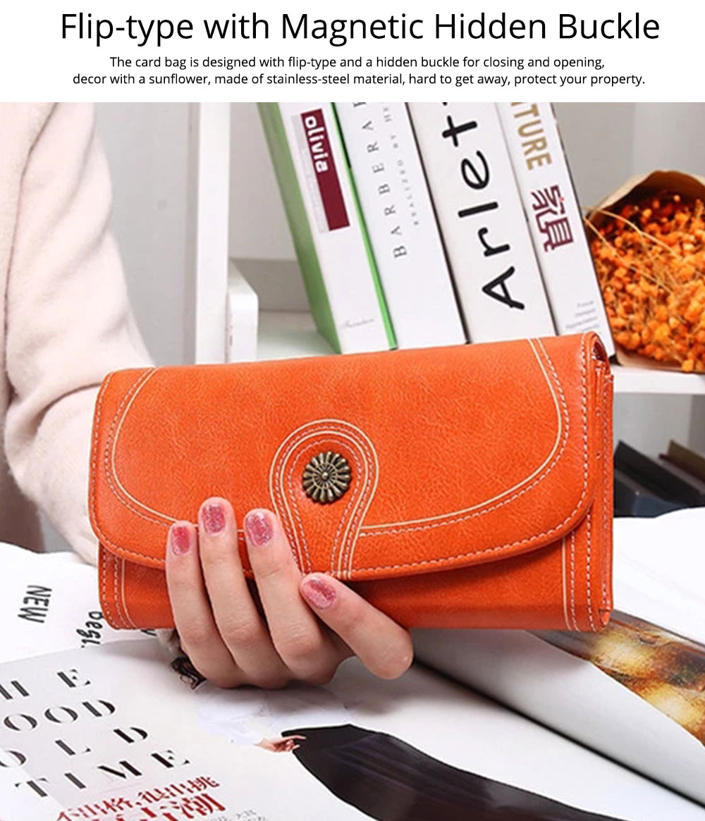 Sunflower Lady Handbag, Flip-type Wallet Card Holder Mini Purse, Metal Overedging Long Clutch Evening Party Bag 4