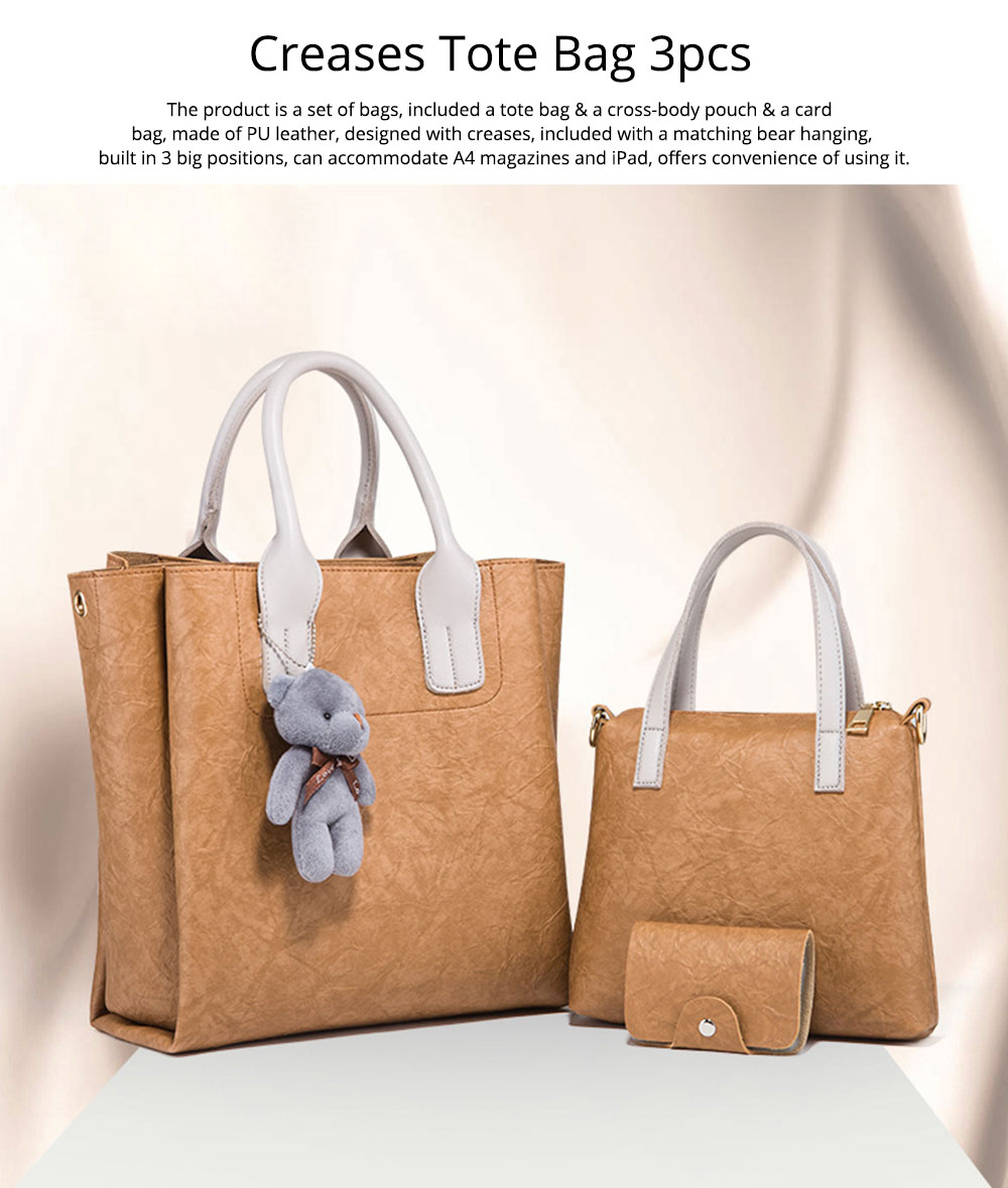 3pcs Creases PU Leather Tote Bag & Cross Body Pouch & Card Bag, Lady Accessories Solid Shoulder Pack Sets 0
