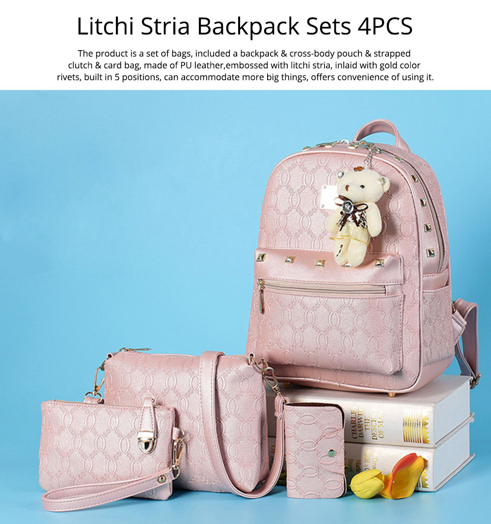 Litchi Stria Backpack & Cross Body Pouch & Strapped Clutch & Card Bag, Embossed PU Leather Double Shoulder Pack Sets, 4 Pieces 7