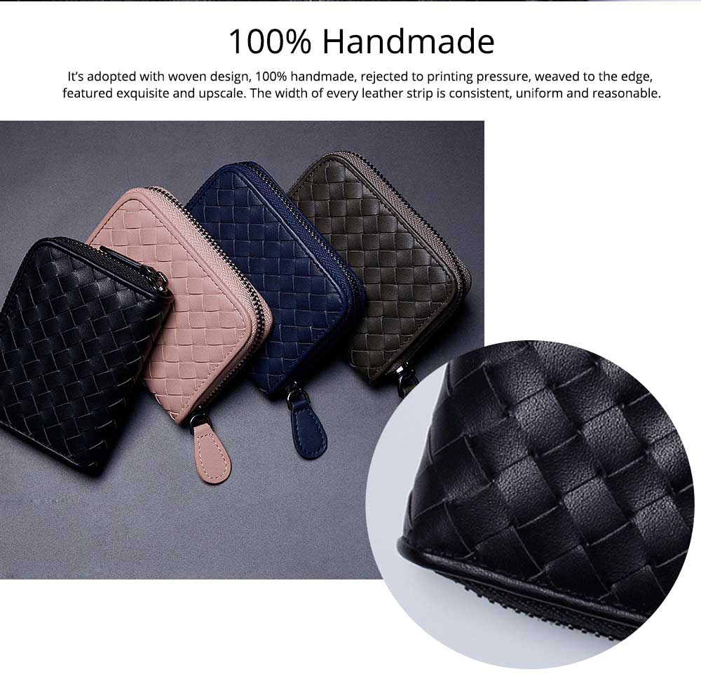 Casual Leather Coin Purse, Microfiber Handwoven Multifunctional Change Case Wallet Card Holder With Metal Zipper and Hanging Belt 9