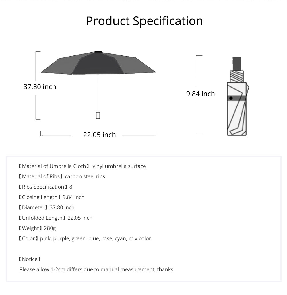 Creative Color Changing Umbrella Triple Folding, Vinyl Painting Umbrella with Superior Windproof Carbon Steel Ribs Encounter Water Show Flowers 6