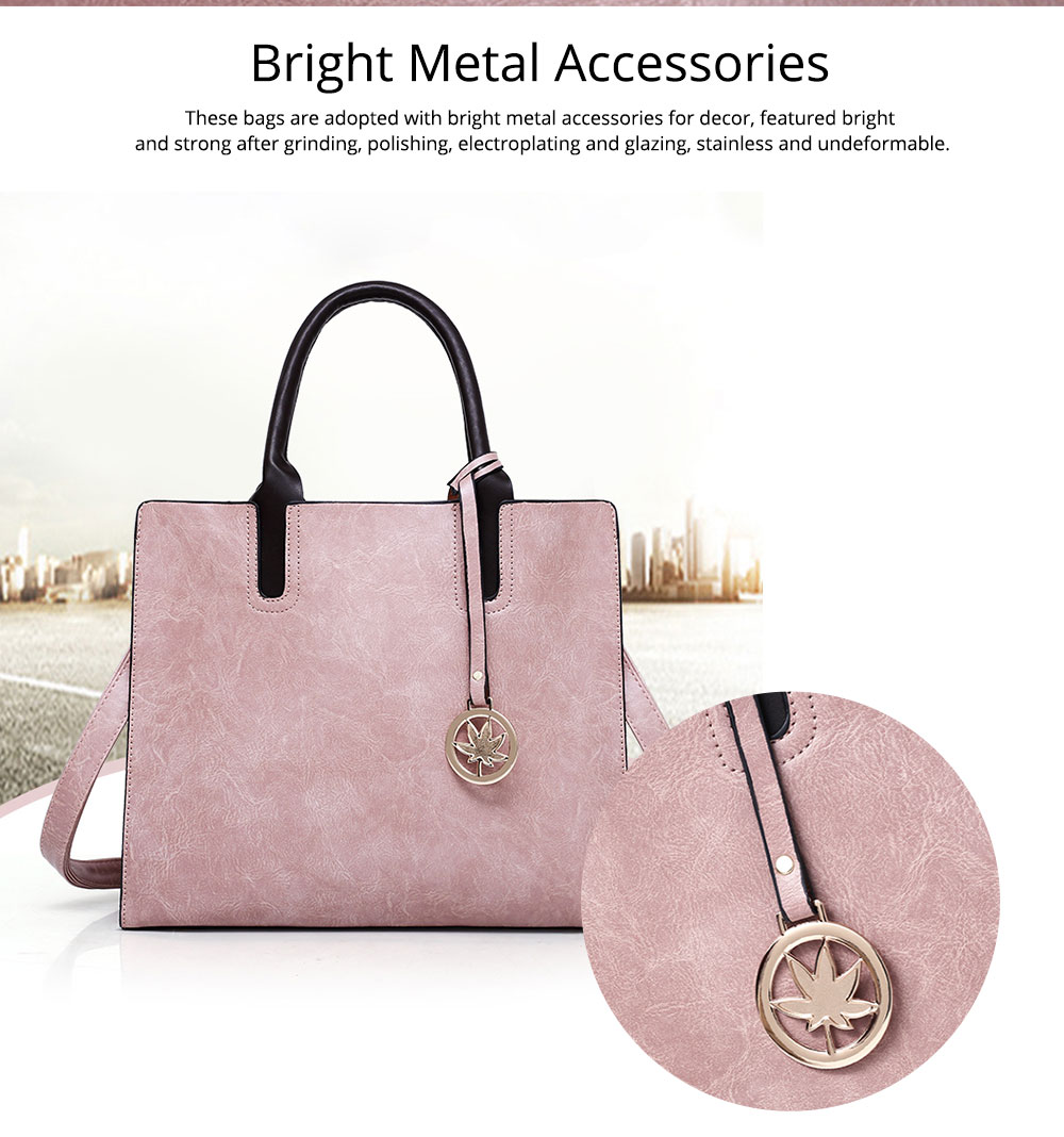 Ladies Handbag Set - Frosted PU Leather Lady Handbag & Shoulder Bag & Tote, Fashion Satchel Slim Purse 3PCS 3