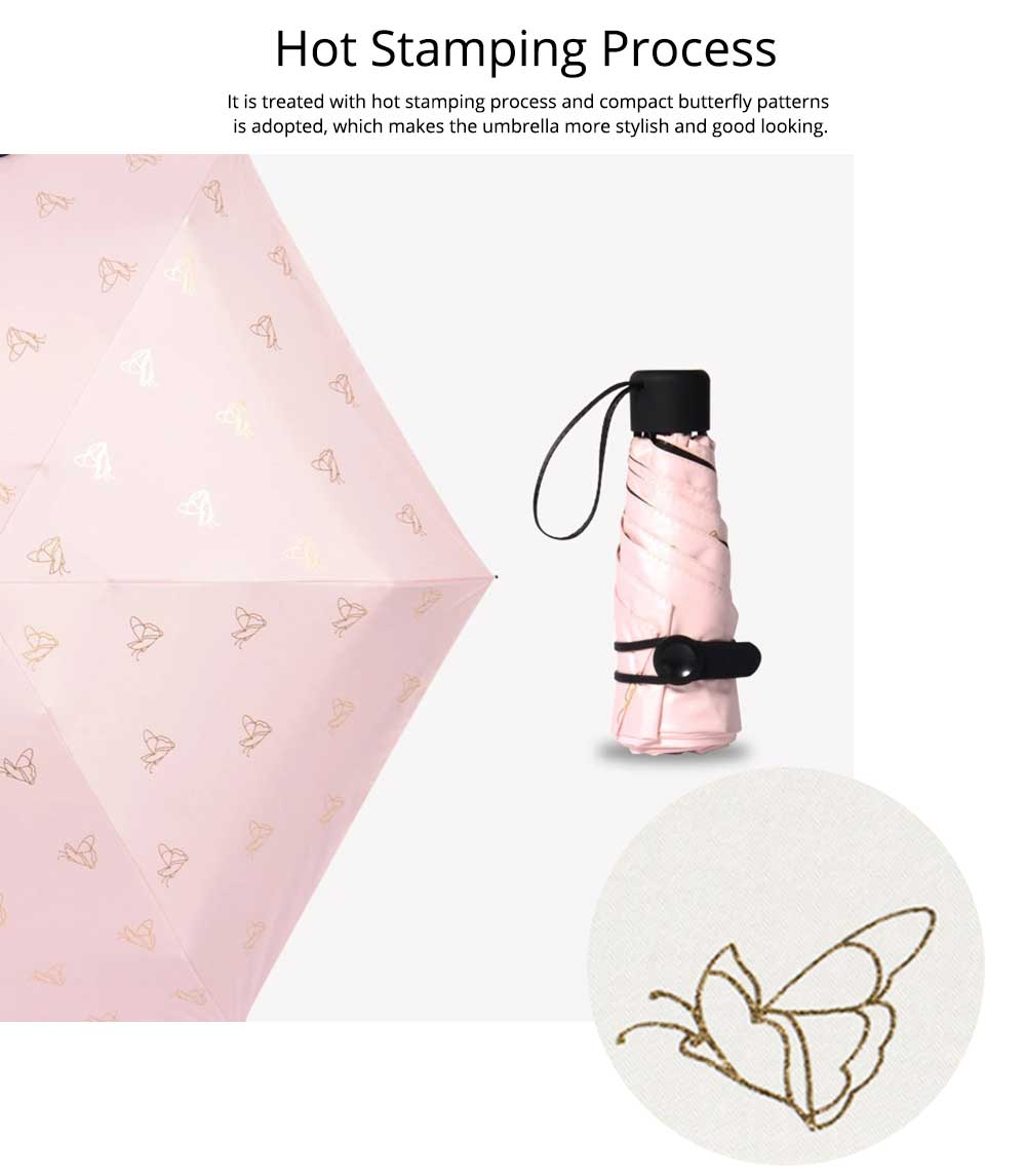 Triple or Five Folding Umbrella With Creative Hot Stamping Butterfly, Portable Folding Compact Umbrella for Sunny Rainy Days 9