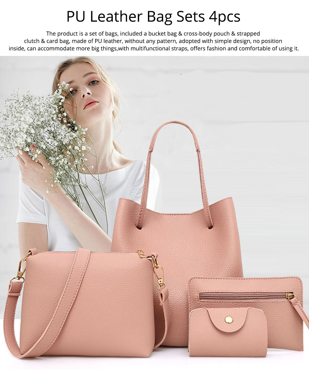 Solid PU Leather Bucket Bag, Cross Body Pouch, Strapped Clutch, Card Bag, Elegant Lady Accessories Bag Sets 4PCS 0