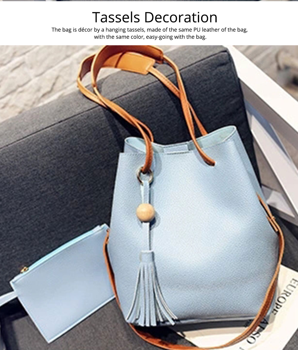 Women Bucket Bag Soft PU Leather, Large Capacity Tassels Ornaments Shoulder Bag, Solid Cross-body Bag Lady Simple Accessories 2PCS 1