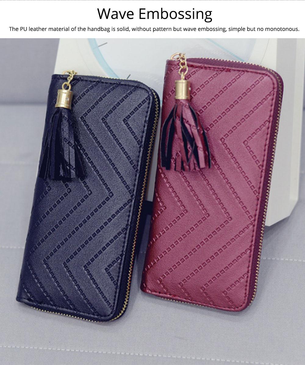 Women Handbag Business PU Leather Wallet, Zipper Tassels Card Holder Mini Purse Long Clutch, Casual Phone Bag 2