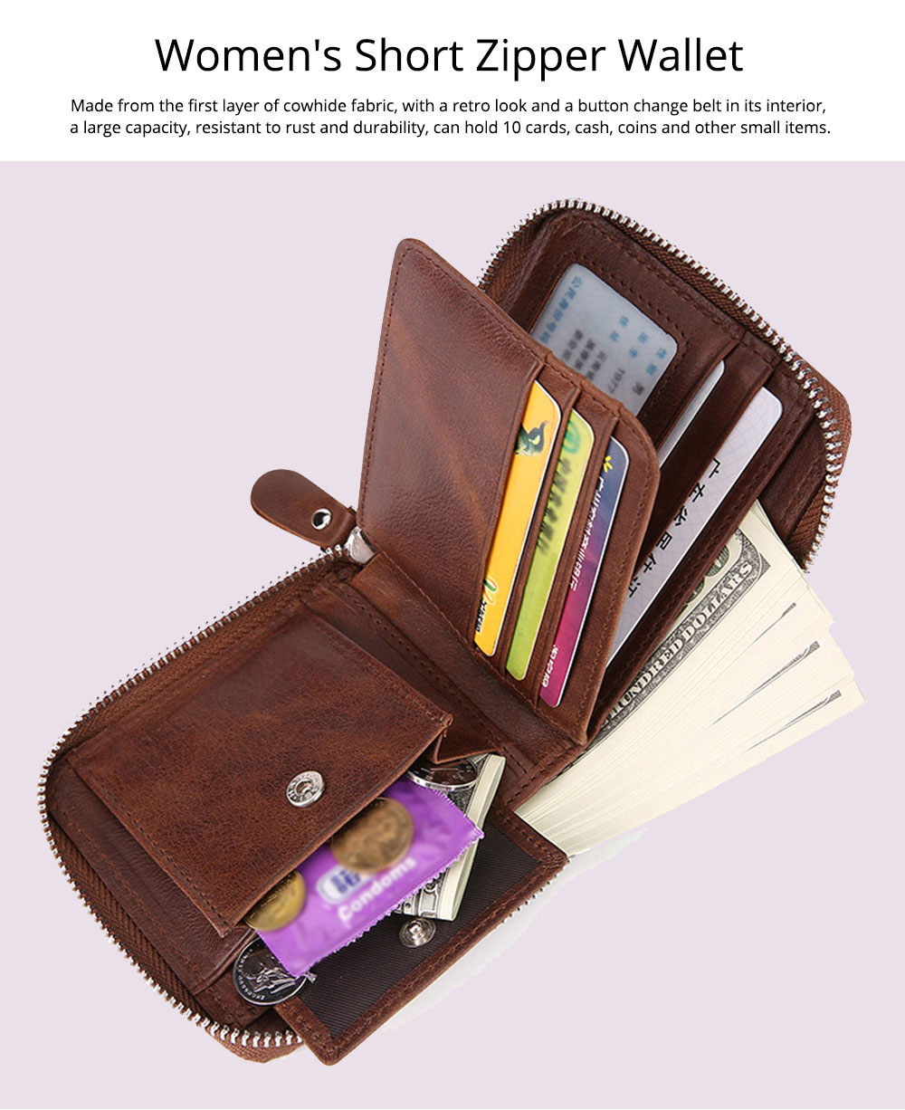 Women's Short Zipper Wallet, Korean Casual Anti-magnetic Clutch for Ladies, Fashion New Leather Coin Purse 0