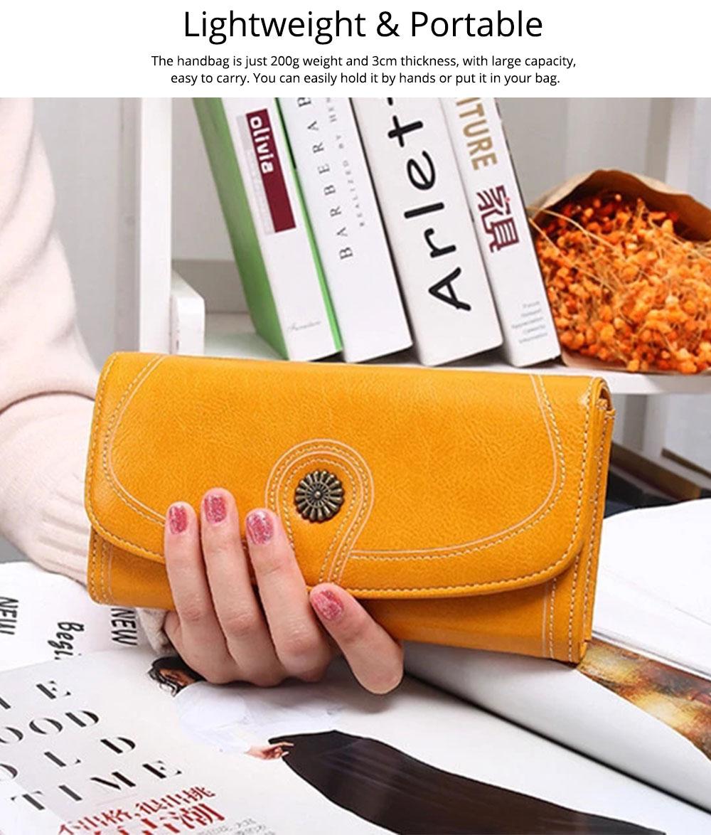Sunflower Lady Handbag, Flip-type Wallet Card Holder Mini Purse, Metal Overedging Long Clutch Evening Party Bag 6