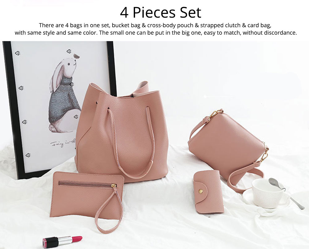 Solid PU Leather Bucket Bag, Cross Body Pouch, Strapped Clutch, Card Bag, Elegant Lady Accessories Bag Sets 4PCS 1