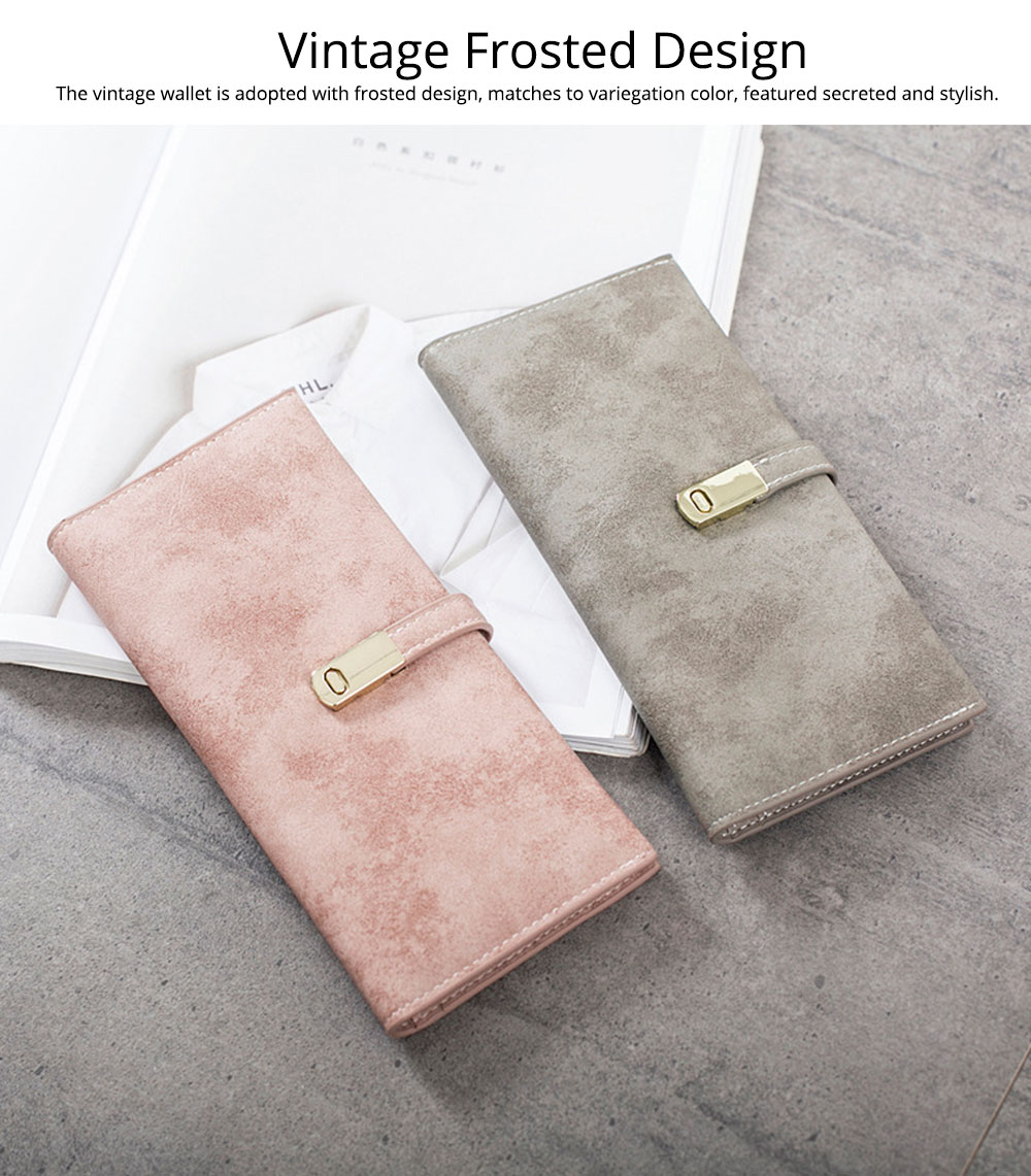 Vintage Lady Handbag Frosted PU Leather Wallet Card Holder Mini Purse, Metal Magnetic Buckle Belt Long Clutch Evening Party Dinner Bag 8