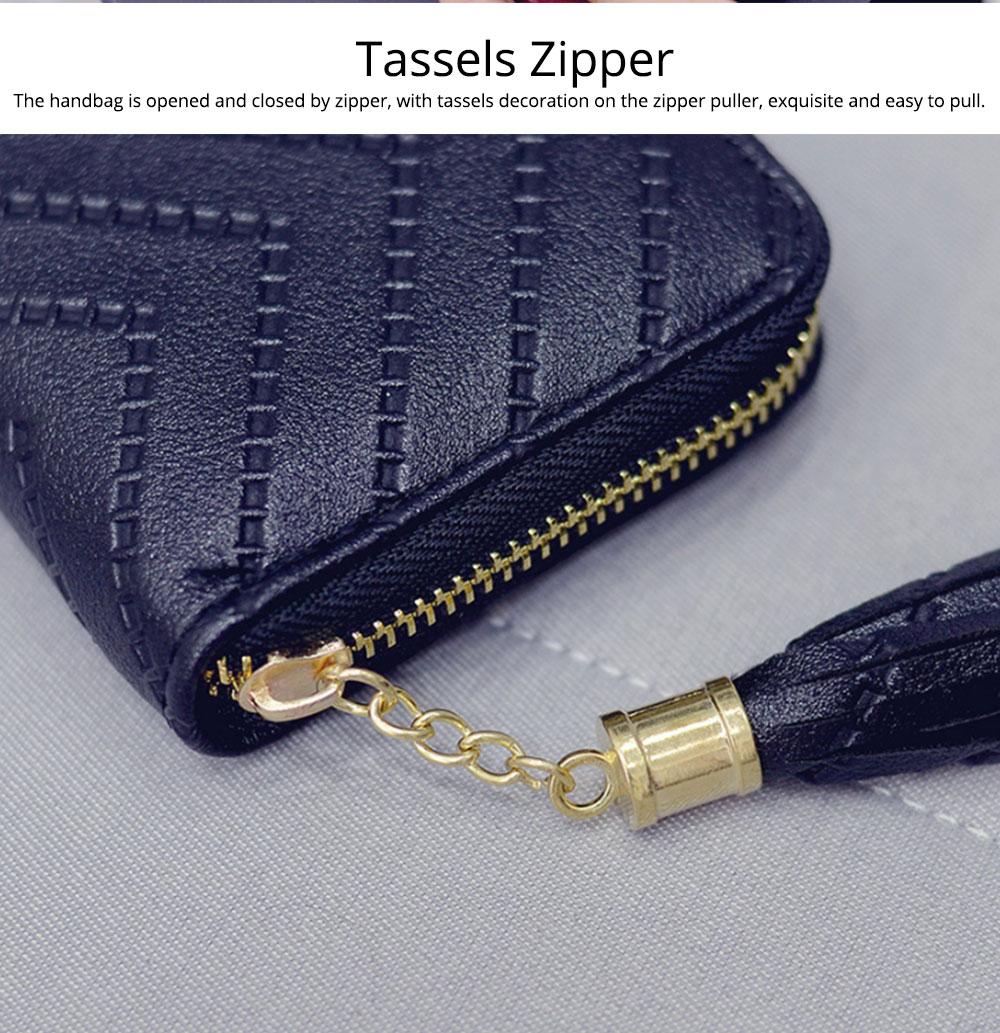 Women Handbag Business PU Leather Wallet, Zipper Tassels Card Holder Mini Purse Long Clutch, Casual Phone Bag 1