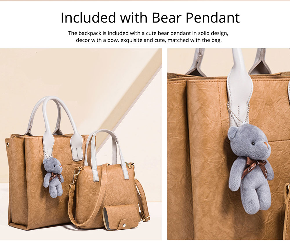 3pcs Creases PU Leather Tote Bag & Cross Body Pouch & Card Bag, Lady Accessories Solid Shoulder Pack Sets 5