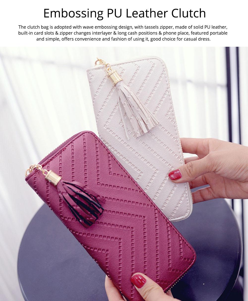 Women Handbag Business PU Leather Wallet, Zipper Tassels Card Holder Mini Purse Long Clutch, Casual Phone Bag 0