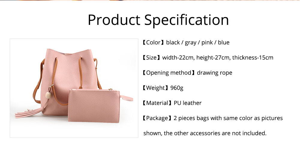 Women Bucket Bag Soft PU Leather, Large Capacity Tassels Ornaments Shoulder Bag, Solid Cross-body Bag Lady Simple Accessories 2PCS 7