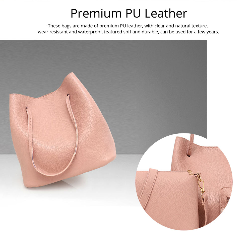 Solid PU Leather Bucket Bag, Cross Body Pouch, Strapped Clutch, Card Bag, Elegant Lady Accessories Bag Sets 4PCS 2