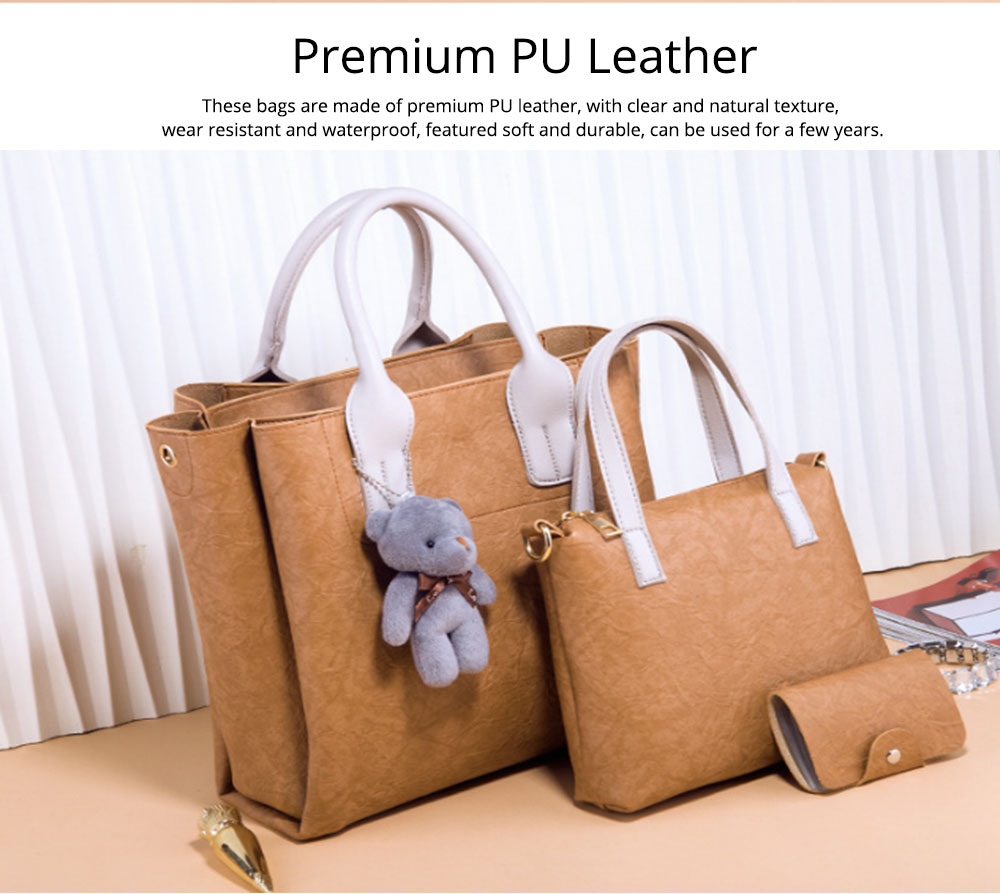 3pcs Creases PU Leather Tote Bag & Cross Body Pouch & Card Bag, Lady Accessories Solid Shoulder Pack Sets 2