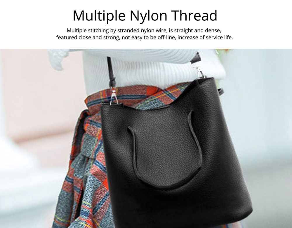 Solid PU Leather Bucket Bag, Cross Body Pouch, Strapped Clutch, Card Bag, Elegant Lady Accessories Bag Sets 4PCS 4