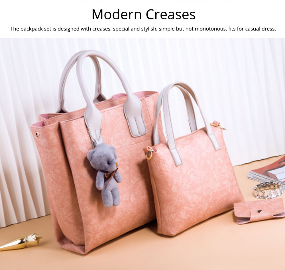 3pcs Creases PU Leather Tote Bag & Cross Body Pouch & Card Bag, Lady Accessories Solid Shoulder Pack Sets 4