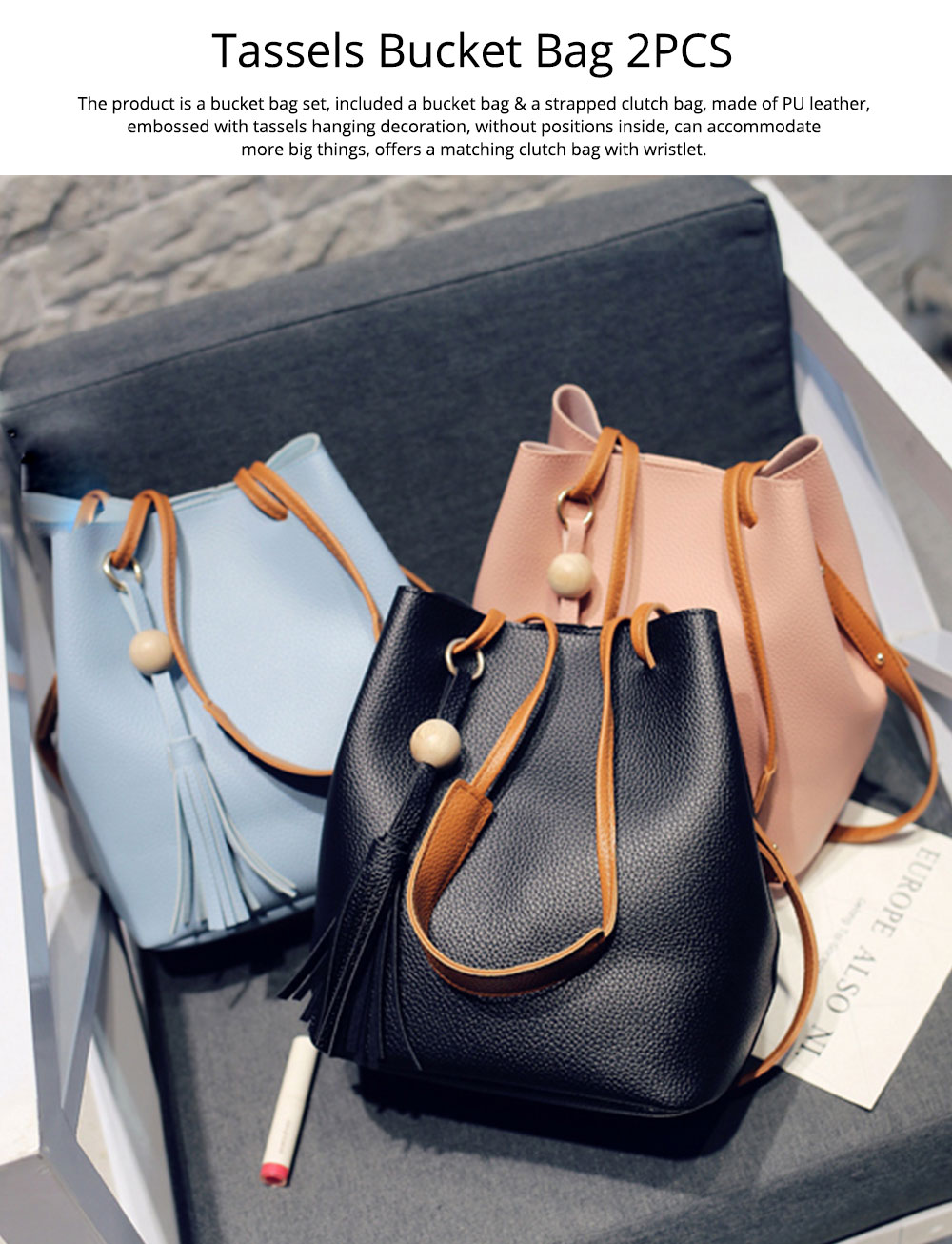 Women Bucket Bag Soft PU Leather, Large Capacity Tassels Ornaments Shoulder Bag, Solid Cross-body Bag Lady Simple Accessories 2PCS 0