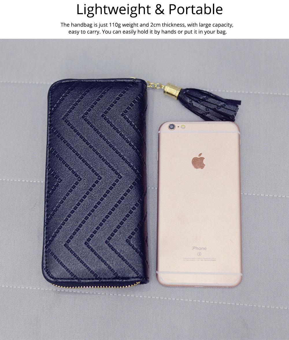 Women Handbag Business PU Leather Wallet, Zipper Tassels Card Holder Mini Purse Long Clutch, Casual Phone Bag 6