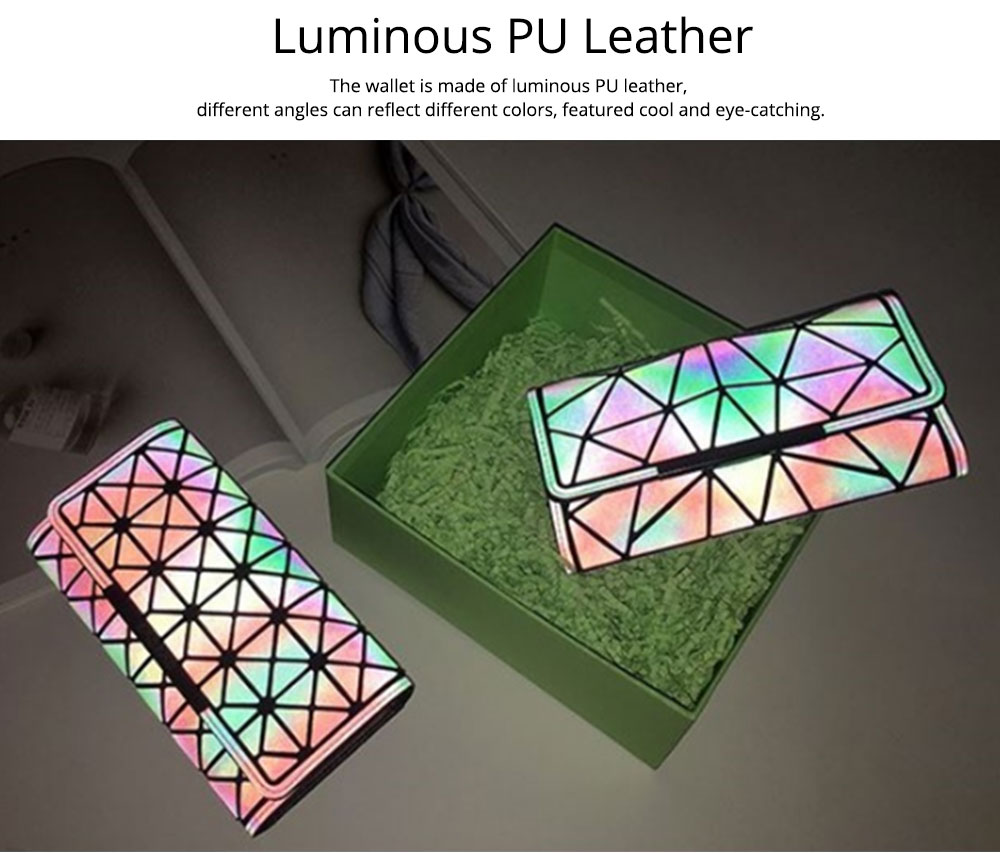 Triangle Long Wallet, Unique Luminous Geometric Embossing Lady Clutch Bag, PU Leather Lady Handbag Card Holder Phone Purse 9