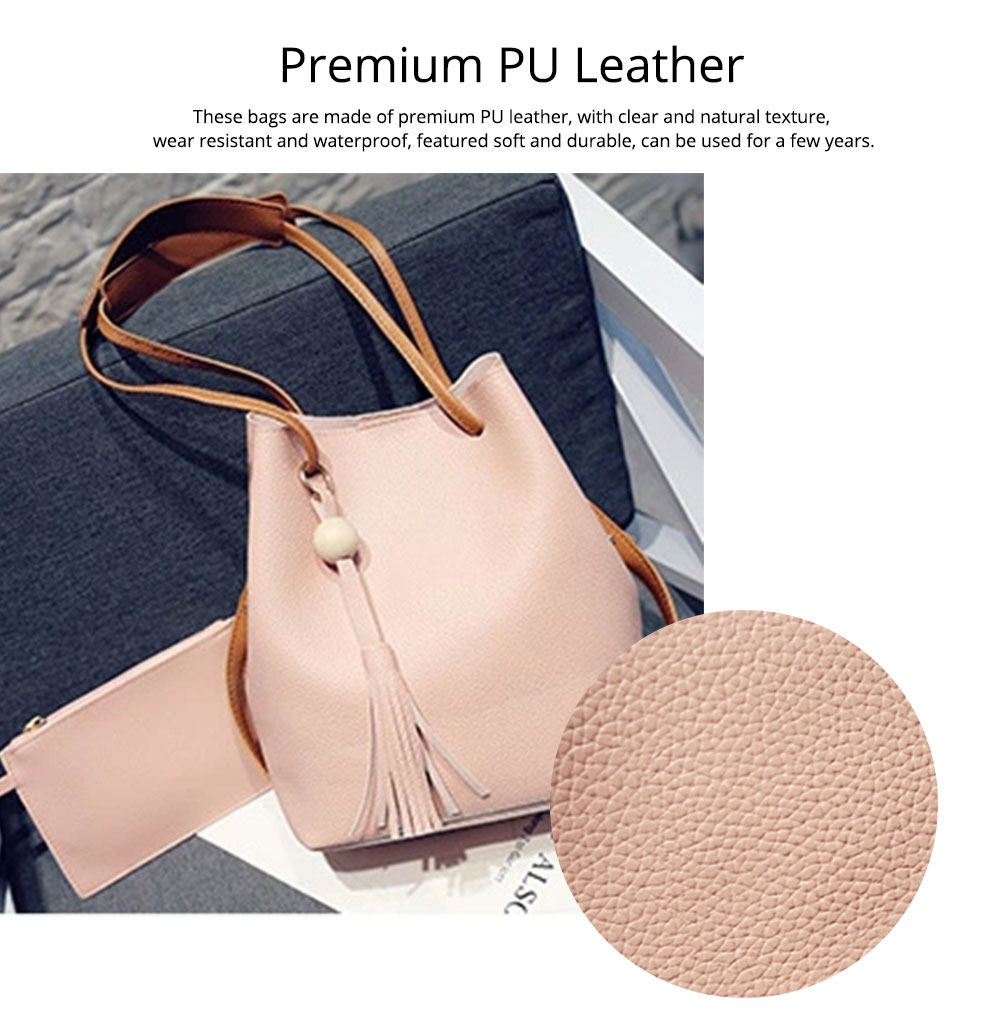Women Bucket Bag Soft PU Leather, Large Capacity Tassels Ornaments Shoulder Bag, Solid Cross-body Bag Lady Simple Accessories 2PCS 9