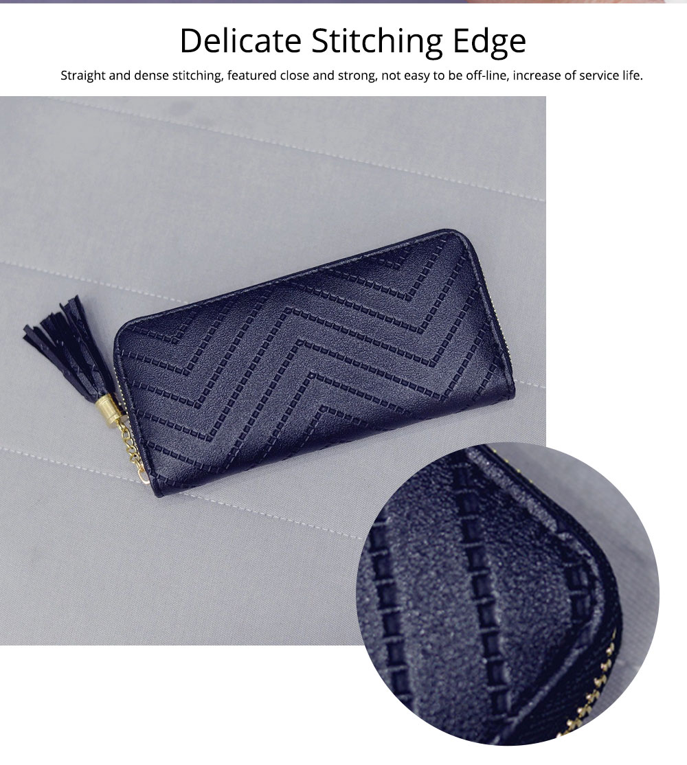 Women Handbag Business PU Leather Wallet, Zipper Tassels Card Holder Mini Purse Long Clutch, Casual Phone Bag 5