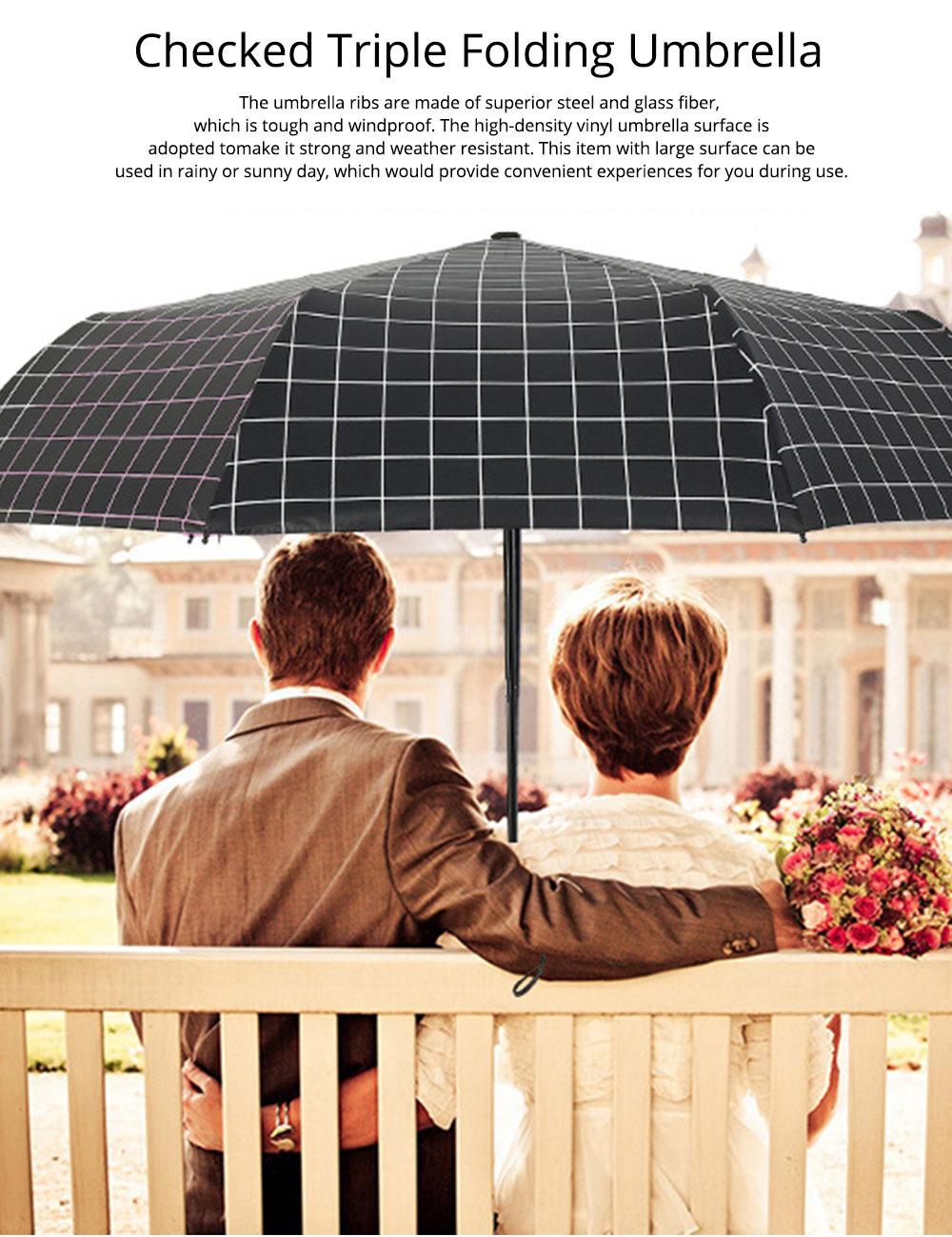Triple Folding Umbrella in Sunny or Rainy Combination, Sun Protection UV Protection Umbrella with Vinyl Surface 0