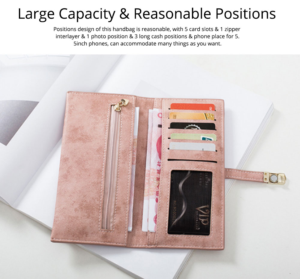 Vintage Lady Handbag Frosted PU Leather Wallet Card Holder Mini Purse, Metal Magnetic Buckle Belt Long Clutch Evening Party Dinner Bag 10